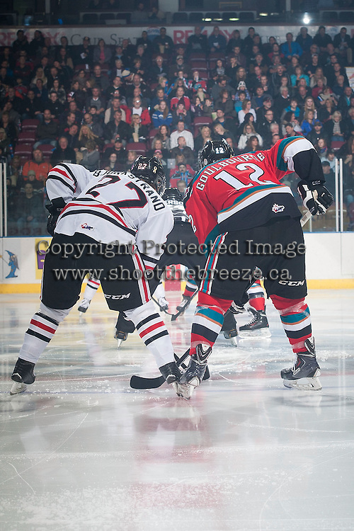 KELOWNA, CANADA - NOVEMBER 21: Oliver Bjorkstrand #22 of Portland Winterhawks lines up against Tyrell Goulbourne #12 of Kelowna Rockets on November 21, 2014 at Prospera Place in Kelowna, British Columbia, Canada.  (Photo by Marissa Baecker/Shoot the Breeze)  *** Local Caption *** Oliver Bjorkstrand; Tyrell Goulbourne;