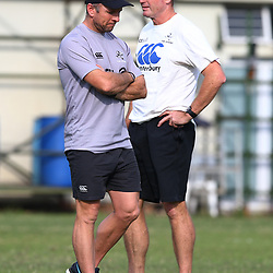 Johan Pretorius Head Strength & Conditioning Coach of the Cell C Sharks with Sean Everitt (Assistant Coach) of the Cell C Sharks during The Cell C Sharks training session at Growthpoint Kings Park in Durban, South Africa. 21 August 2017(Photo by Steve Haag)<br /> <br /> images for social media must have consent from Steve Haag
