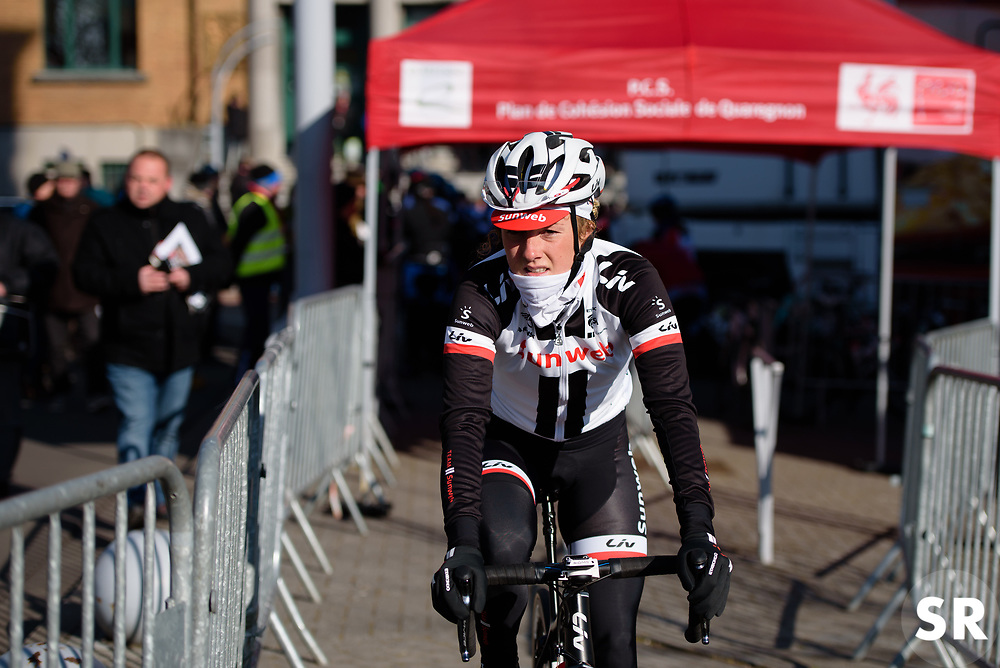 Floortje Mackaij of Sunweb riding with the mixed team, 'Loving Potatoes-DJR' at Le Samyn des Dames 2018 - a 103 km road race on February 27, 2018, from Quaregnon to Dour, Belgium. (Photo by Sean Robinson/Velofocus.com)