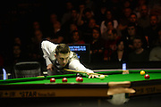 19.02.2016. Cardiff Arena, Cardiff, Wales. Bet Victor Welsh Open Snooker. Mark Selby versus Ronnie O'Sullivan. Mark Selby on a break.