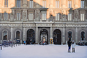 The Royal Palace, Stockholm, Sweden in winter.