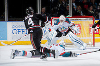 KELOWNA, CANADA -FEBRUARY 5: Haydn Fleury D #4 of the Red Deer Rebels takes a shot on Jackson Whistle #1 of the Kelowna Rockets during the second period on February 5, 2014 at Prospera Place in Kelowna, British Columbia, Canada.   (Photo by Marissa Baecker/Getty Images)  *** Local Caption *** Haydn Fleury; Jackson Whistle;