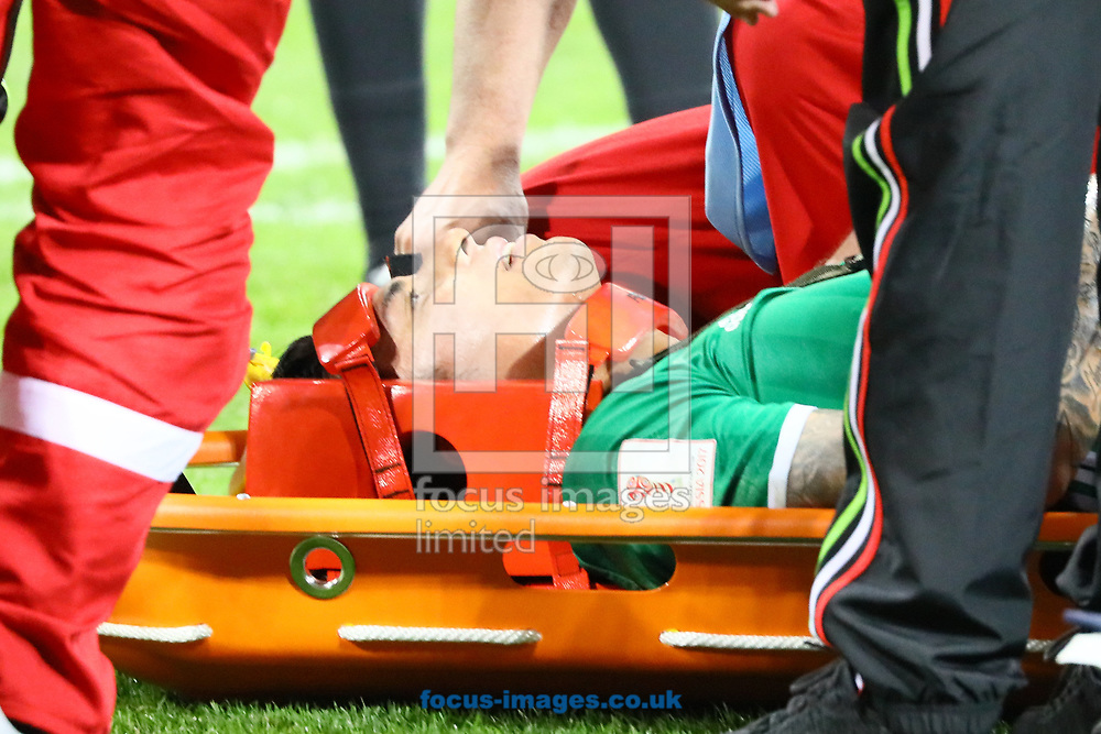 Carlos Salcedo of Mexico injures his shoulder and is carried off the field during the 2017 FIFA Confederations Cup match at Fisht Stadium, Sochi<br /> Picture by EXPA Pictures/Focus Images Ltd 07814482222<br /> 22/06/2017<br /> *** UK &amp; IRELAND ONLY ***<br /> <br /> EXPA-EIB-170622-0062.jpg