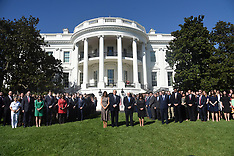 President Trump and White House staff lead a moment of silence - 2 Oct 2017