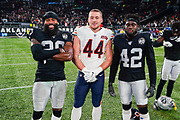 Daryl Worley (CB) of the Oakland Raiders, Nick Kwiatkoski (LB) of the Chicago Bears and Karl Joseph (S) of the Oakland Raiders during the International Series match between Oakland Raiders and Chicago Bears at Tottenham Hotspur Stadium, London, United Kingdom on 6 October 2019.