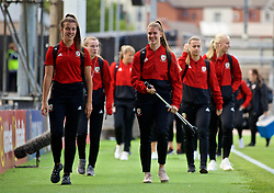 NEWPORT, WALES - Tuesday, September 3, 2019: Wales' goalkeepers Olivia Clarke (L) and Claire Skinner arrive before the UEFA Women Euro 2021 Qualifying Group C match between Wales and Northern Ireland at Rodney Parade. (Pic by David Rawcliffe/Propaganda)