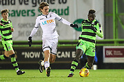 Forest Green Rovers Toni Gomes(25) runs forward under pressure from Swansea City's George Byers during the EFL Trophy match between Forest Green Rovers and U21 Swansea City at the New Lawn, Forest Green, United Kingdom on 31 October 2017. Photo by Shane Healey.