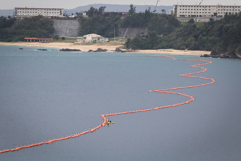 OKINAWA, JAPAN - FEBRUARY 7 :  Above-water fencing is seen during protest agains the new US Airbase in Oura Bay, Henoko, Nago, Okinawa, Japan on Feb. 7, 2017. Workers were seen dropping concrete blocks into the sea  from barges for constructing the new US base which was started this Tuesday morning. (Photo by Richard Atrero de Guzman/NURPhoto)