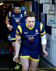 Luke Baldwin of Worcester Warriors runs out to face Harlequins - Mandatory by-line: Robbie Stephenson/JMP - 28/01/2017 - RUGBY - Sixways Stadium - Worcester, England - Worcester Warriors v Harlequins - Anglo Welsh Cup