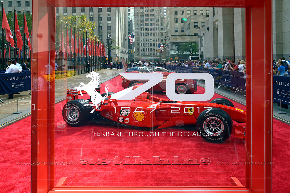 Michael Schumacher's  Formula 1 Ferrari F1 car on ROCKEFELLER PLAZA.