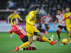 Daniel Leadbitter of Bristol Rovers is challenged by Ryan Harley of Exeter City - Mandatory byline: Neil Brookman/JMP - 28/11/2015 - FOOTBALL - ST James Park - Exeter, England - Exeter City v Bristol Rovers - Sky Bet League Two