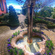 A small tranquil fountain in front of the Olympic museum in Lausanne