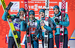 21.01.2018, Heini Klopfer Skiflugschanze, Oberstdorf, GER, FIS Skiflug Weltmeisterschaft, Teambewerb, Siegerehrung, im Bild Platz 2 Peter Prevc (SLO), Jernej Damjan (SLO), Domen Prevc (SLO) und Anze Semenic (SLO) // 2 place Peter Prevc of Slovenia, Jernej Damjan of Slovenia, Domen Prevc of Slovenia and Anze Semenic of Slovenia during Winner Award Ceremony of the Team competition of the FIS Ski Flying World Championships at the Heini-Klopfer Skiflying Hill in Oberstdorf, Germany on 2118/01/21. EXPA Pictures © 2118, PhotoCredit: EXPA/ Peter Rinderer