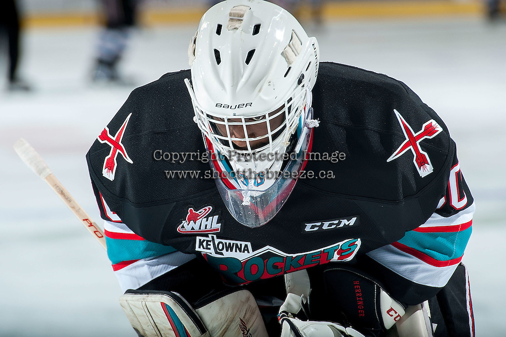 KELOWNA, CANADA - NOVEMBER 20: Michael Herringer #30 of Kelowna Rockets stands on the ice during the time out against the Edmonton Oil Kings on November 20, 2015 at Prospera Place in Kelowna, British Columbia, Canada.  (Photo by Marissa Baecker/ShoottheBreeze)  *** Local Caption *** Michael Herringer;