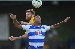 Matty Taylor of Bristol Rovers challenges for the header with Readings's Anton Ferdinand of Reading - Mandatory by-line: Dougie Allward/JMP - 21/07/2015 - SPORT - FOOTBALL - Bristol,England - Memorial Stadium - Bristol Rovers v Reading - Pre-Season Friendly