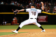 Apr 29, 2016; Phoenix, AZ, USA; Arizona Diamondbacks relief pitcher Randall Delgado (48) delivers a pitch during the sixth inning against the Colorado Rockies at Chase Field. Mandatory Credit: Jennifer Stewart-USA TODAY Sports