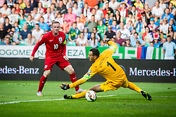 Wayne Rooney of England and Samir Handanovic of Slovenia during the EURO 2016 Qualifier Group E match between Slovenia and England at SRC Stozice on June 14, 2015 in Ljubljana, Slovenia. Photo by Grega Valancic