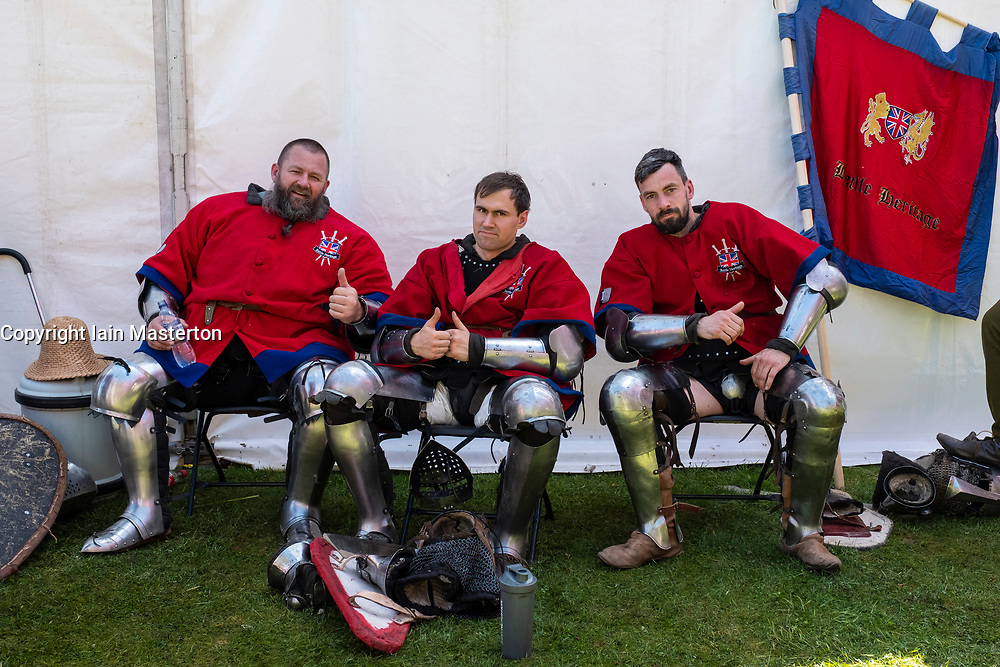 English knights rest during the  International Medieval Combat Federation (IMCF) World Championships  at Scone Palace on May 12, 2018 at Scone Palace in Perth, Scotland.