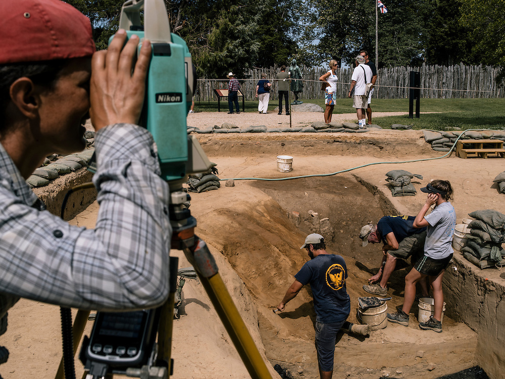 Archaeologists dig out what they believe to be a well at the Jamestown settlement in Virginia. The Jamestown Rediscovery team are constantly finding new artifacts and new sites to dig.