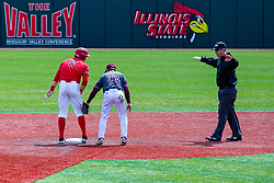 NORMAL, IL - April 08: Kirk Hacker calls Joe Butler safe at 2nd as John Privitera doubles up on the tag attempt during a college baseball game between the ISU Redbirds  and the Missouri State Bears on April 08 2019 at Duffy Bass Field in Normal, IL. (Photo by Alan Look)