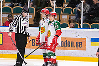 2019-12-02 | Umeå, Sweden: And the Referee want to play hockey in HockeyAllsvenskan during the game  between Björklöven and Mora at A3 Arena ( Photo by: Michael Lundström | Swe Press Photo )<br /> <br /> Keywords: Umeå, Hockey, HockeyAllsvenskan, A3 Arena, Björklöven, Mora, mlbm191202