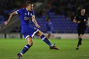 Lee Erwin of Oldham Athletic gets a shot on target  during the EFL Sky Bet League 1 match between Oldham Athletic and Scunthorpe United at Boundary Park, Oldham, England on 18 October 2016. Photo by Simon Brady.