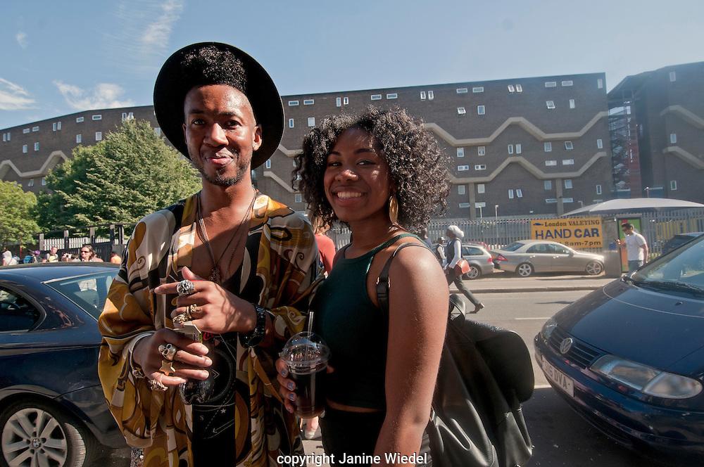 West indian couple celebrating at annual Brixton Big Splash festival