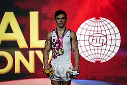 November 2, 2018 - Doha, Qatar - Artur Dalaloyan of  Russia  winning the gold medal at the Aspire Dome in Doha, Qatar, Artistic FIG Gymnastics World Championships on 2 of November 2018. (Credit Image: © Ulrik Pedersen/NurPhoto via ZUMA Press)