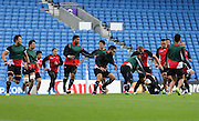 Players training during the Japan Captain's Run training session in preparation for the Rugby World Cup at the American Express Community Stadium, Brighton and Hove, England on 18 September 2015.