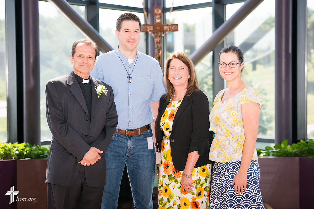 A portrait of (L-R) the Rev. Daniel McMiller, director of LCMS Missionary Recruitment, David Fiala, Maureen Williams, and Erin Alter in the International Center chapel of The Lutheran Church–Missouri Synod on Thursday, August 14, 2014, in Kirkwood, Mo. LCMS Communications/Erik M. Lunsford