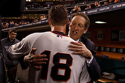 SAN FRANCISCO, CA - JUNE 13: Matt Cain #18 of the San Francisco Giants is congratulated by team CEO Larry Baer (right) after the game against the Houston Astros at AT&T Park on June 13, 2012 in San Francisco, California. Cain pitched a perfect game as the San Francisco Giants defeated the Houston Astros 10-0. (Photo by Jason O. Watson/Getty Images) *** Local Caption *** Matt Cain; Larry Baer