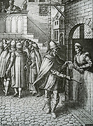 In front of the image is proposed to serve a subpoena - citation or challenge - at the home of the defendant, through a messenger or usher.  See translation for further. Legal practice in the Netherlands 17th century