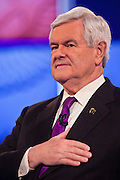 "22 FEBRUARY 2012 - MESA, AZ:   Congressman NEWT GINGRICH sings the Star Spangled Banner at the Arizona Republican Presidential Debate in the Mesa Arts Center in Mesa, AZ, Wednesday. It is the last debate before the Michigan and Arizona Republican primaries on Feb. 28 and ""Super Tuesday"" on March 6.         PHOTO BY JACK KURTZ"