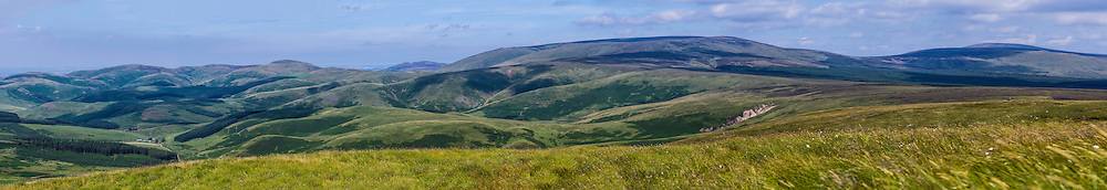 Windy Gyle, Cheviot Hills, UK. 13th August 2015. Looking north east from Russells Cairn (619m).