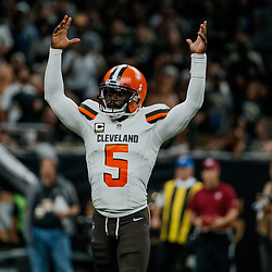 Sep 16, 2018; New Orleans, LA, USA; Cleveland Browns quarterback Tyrod Taylor (5) reacts after a touchdown by running back Carlos Hyde (not pictured) during the third quarter of a game at the Mercedes-Benz Superdome. The Saints defeated the Browns 21-18. Mandatory Credit: Derick E. Hingle-USA TODAY Sports