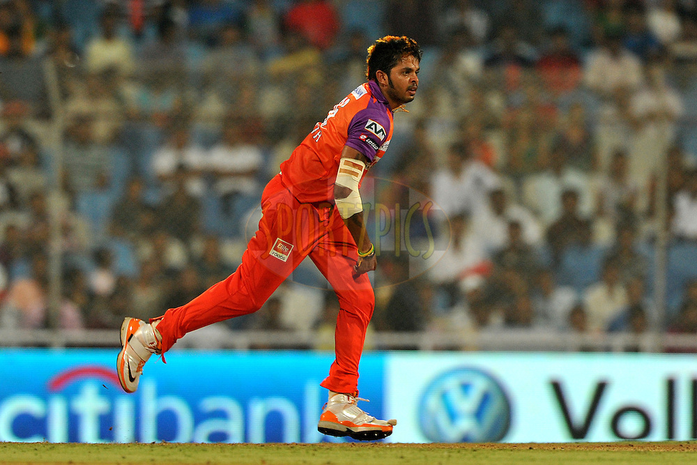 S Sreesanth of Kochi Tuskers Kerala bowls during  match 10 of the Indian Premier League ( IPL ) Season 4 between the Pune Warriors and the Kochi Tuskers Kerala held at the Dr DY Patil Sports Academy, Mumbai India on the 12th April 2011..Photo by Pal Pillai /BCCI/SPORTZPICS
