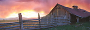 Idaho.  Panoramic landscape of barn at sunset.