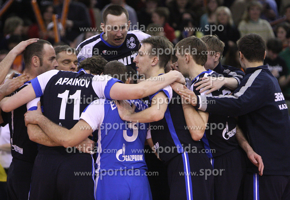 Team of Zenit celebrates after victory at 8th final volleyball match of CEV Indesit Champions League Men 2008/2009 between ACH Volley Bled (SLO) and Zenit Kazan (RUS), on February 12, 2009 in Hall Tivoli, Ljubljana, Slovenia. (Photo by Vid Ponikvar / Sportida)