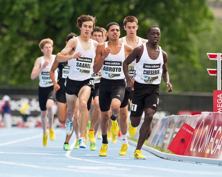 adidas Grand Prix professional track & field meet: high school boys Dream Mile, Cheserek leads Arroyo, Saarel