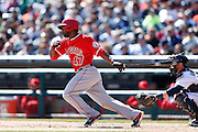 DETROIT, MI - APRIL 19: Howie Kendrick #47 of Los Angeles Angels bats during the game against the Detroit Tigers at Comerica Park on April 19, 2014 in Detroit, Michigan. The Tigers won 5-2. (Photo by Joe Robbins)