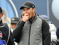 Golf - 2018 Sky Sports British Masters - Sunday, Fourth Round<br /> <br /> Eddie Pepperell of England ponders his shot with an apple, at Walton Heath Golf Club.<br /> <br /> COLORSPORT/ANDREW COWIE