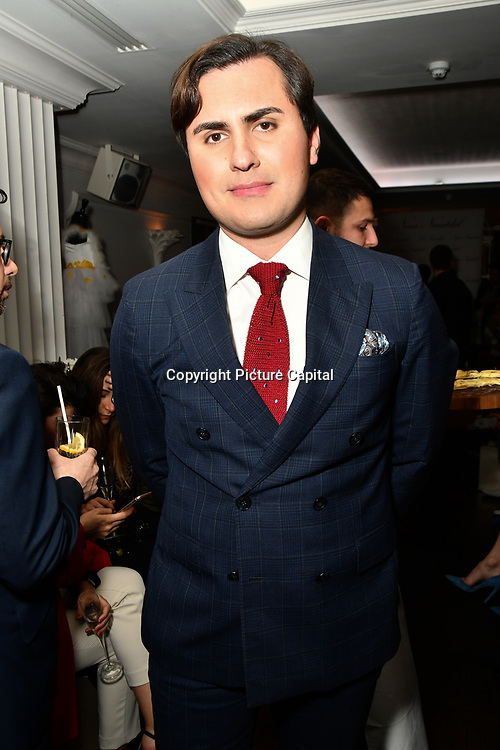 Raef Bijou attend Nina Naustdal catwalk show SS19/20 collection by The London School of Beauty & Make-up at Bagatelle on 26 Feb 2019, London, UK.