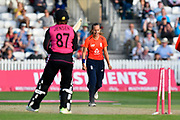 Wicket - Tash Farrant of England celebrates taking the final wicket of Hayley Jensen of New Zealand to win the match for England during the International T20 match between England Women Cricket and New Zealand at the Cooper Associates County Ground, Taunton, United Kingdom on 23 June 2018. Picture by Graham Hunt.