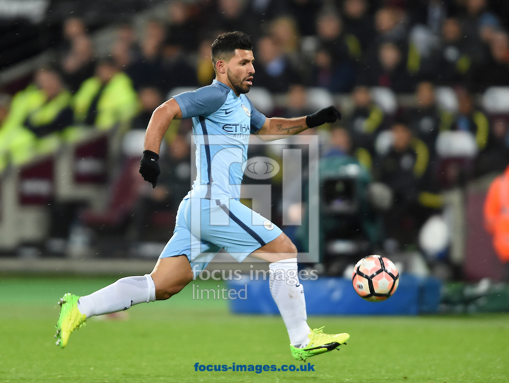 Manchester City's Sergio Aguero during the third round of the FA Cup at the London Stadium, Stratford<br /> Picture by Daniel Hambury/Focus Images Ltd 07813022858<br /> 06/01/2017