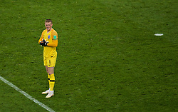 MOSCOW, RUSSIA - Wednesday, July 11, 2018: England's goalkeeper Jordan Pickford looks dejected during the FIFA World Cup Russia 2018 Semi-Final match between Croatia and England at the Luzhniki Stadium. (Pic by David Rawcliffe/Propaganda)