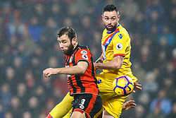 Steve Cook of Bournemouth and Damien Delaney of Crystal Palace watch the ball go over their heads - Mandatory by-line: Jason Brown/JMP - 31/01/2017 - FOOTBALL - Vitality Stadium - Bournemouth, England - Bournemouth v Crystal Palace - Premier League