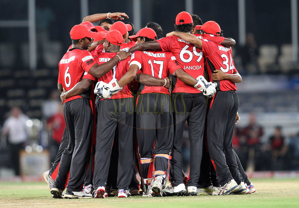 Ruhunu Eleven celebrate after beating Leicestershire Foxes during the CLT20 - Q5 match between Leicester Foxes and Ruhunu Eleven held at the Rajiv Gandhi International Stadium, Hyderabad on the 21st September 2011..Photo by Shaun Roy/BCCI/SPORTZPICS