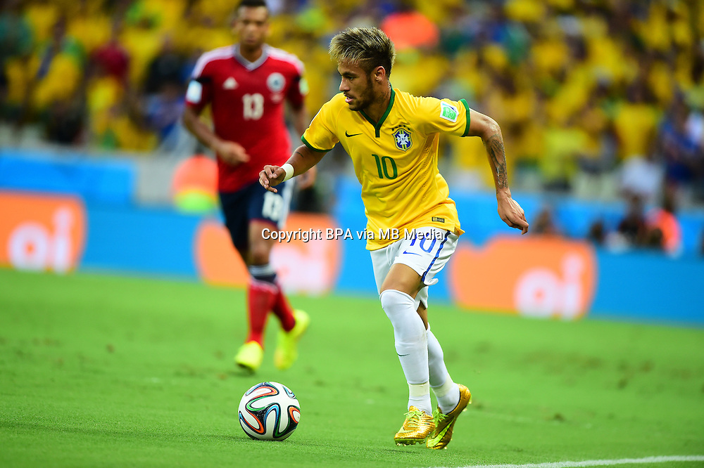Neymar. Brazil v Colombia, quarter-final. FIFA World Cup Brazil 2014. Castelao stadium, Fortaleza. 4 July 2014.