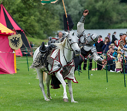 jousting and hand to hand combat thrilled the massive crowds at the medieval experience weekend held at Linlithgow Palace.<br /> <br /> &copy; Dave Johnston/ EEm