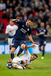 November 6, 2018 - London, Greater London, England - Gastón Pereiro of PSV Eindhoven is tackled by Harry Winks of Tottenham Hotspur during the UEFA Champions League Group Stage match between Tottenham Hotspur and PSV Eindhoven at Wembley Stadium, London, England on 6 November 2018. Photo by Salvio Calabrese. (Credit Image: © AFP7 via ZUMA Wire)